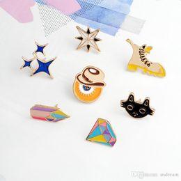Wholesale Christmas Gifts For Kids Australia - Enamel Star Diamond Cowboy Brooch Pins Lapel Pins Badge Fashion Jewelry for Women Men Kids Christmas Gift Drop Ship 370081