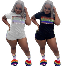 $enCountryForm.capitalKeyWord Australia - Women Tracksuits Summer Two Piece Shorts Set Rainbow Rhinestone Outfits Bling Stripe Short Sleeve Top Pocket Shorts Suits White Black