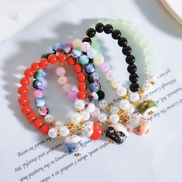 Cute stone braCelets online shopping - Ceramics Cat Charm Bangle Artifical Pearl Natural Stones Beaded Bracelets Cute Wristband Fit Womens Jewelry Souvenirs dd E1