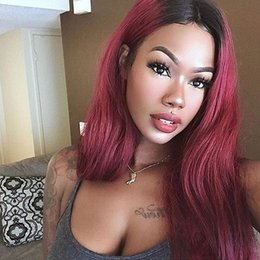 99j Straight Wigs Australia - New style Natural straight Human Hair Lace Front Wigs silk top Full Lace Human Hair Wig #1bT#99J Ombre Human Wig for black women