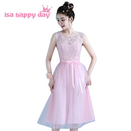 Party chiffon dresses for teens online shopping - 2019 new fashion princess o neck sleeveless short elegant light pink bridesmaids bridal party teen dresses for weddings
