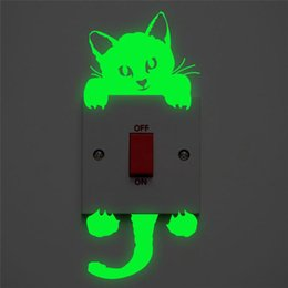 fairy bathroom decor UK - Light Switch Sticker Luminous Wall Stickers Cartoon Glow In The Dark Sticker Decal for Kids Room Decoration Home Decor Cat Fairy