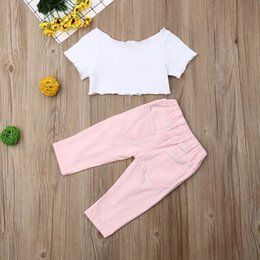 girls ripped shirts UK - Pudcoco 2019 Summer Infant Baby Girl Kid Ice Cream T-shirt Ripped Trousers Pink Pants Sunsuit Clothes Fashion Set