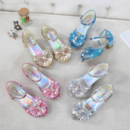 Dress snow online shopping - 4 Colors Snow Queen Princess Leather Sandals Baby Kids Girls High Heels Dress Shoes Crystal Dancing Sandals Children Bow knot Shoes M936