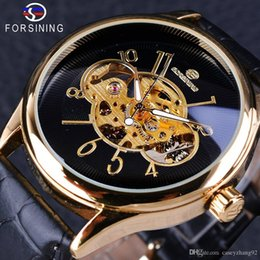 pin display cases NZ - Forsining Creative Skeleton Black Golden Display Men's Openwork Watch Top Brand Luxury Mechanical Wristwatch Transparent Case