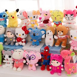 Wholesale Stuffed Animals Plush toys CM Kids Dolls inch Cute Hello Kitty Pikachu Spiderman Elephant Cock Bear Duck Snoopy For wedding party