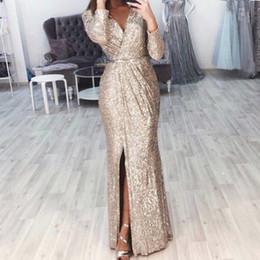 $enCountryForm.capitalKeyWord Australia - Missord 2019 Sexy V Neck Long Sleeve Glitter High Split Dresses Female Elegant Party Clubwear Maxi Elegant Dress Vestdiosft18776 MX190727