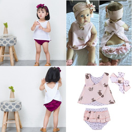 cute baby white t shirt UK - Lovely Baby Girls Summer Clothes Outfits Suits Cute Kid Girls Rabbit Print T-shirt Top Pant Headband 3pcs set