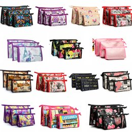 Cartoon storage online shopping - 3pcs set cartoon printed cosmetic bag letter floral travel outdoor portable make up bag storage zipper wash organizer Toiletry kits FFA2533