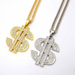 $enCountryForm.capitalKeyWord Australia - Mens Bling Chain Link chains hip hop night club golden US dollar symbol Iced Out necklaces personality pendant for men and women