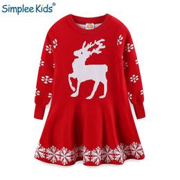 $enCountryForm.capitalKeyWord NZ - Christmas Girls Dresses Elk New Year Dresses for Girl Kids Long Sleeve Children Winter Sweater Dress Red Xmas Clothing