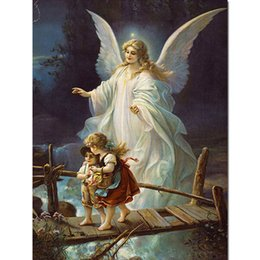 Diy DiamonD painting angel online shopping - 5d Diy Full Drill Diamond Painting Angel Baby Holy Diamond Embroidery Scenery Wooden Bridge Cross Stitch Home Decor Gift Love Z94