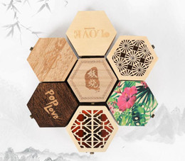 Wood pieces necklaces online shopping - Small hexagonal Wooden Jewelry Storage Box Necklace Earring Cosmetics Case Container Gift