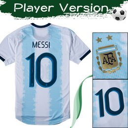 Wholesale Player Version Argentina Soccer Jersey MESSI Home Football Shirt DYBALA KUN AGUERO Uniform Size S XL