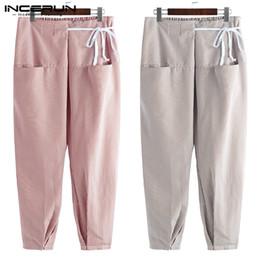 Yoga Pants Men Loose NZ - INCERUN 2019 Men's Thai Fisherman Pants Striped Lace Up Pockets Loose Joggers Male Yoga-pants Vintage Casual Trousers Men S-5XL