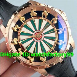 White Folding Tables Australia - Top Luxury Excalibur RDDBEX0398 Knights of the Round Table 18K Rosegold Case Green White Dial Leather Strap MIYOTA 6T15 automatic Mens Watch