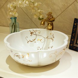vessel sink bowls NZ - Flower Shape Europe style chinese wash basin vessel sinks Jingdezhen Art Counter Top ceramic basin sink round bowl wash basin