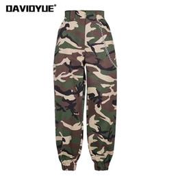 HigH waist camo pants online shopping - 2019 Fashion Chain Military Camouflage Pants Women Army Black High Waist Loose Camo Pants Trousers Street Jogger Sweatpants Y19062901