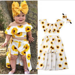 Flower Brand Skirts Australia - Baby girls outfits children Sun flower print off shoulder top+skirts with headband 3pcs set 2019 Summer fashion kids Clothing Sets C6410