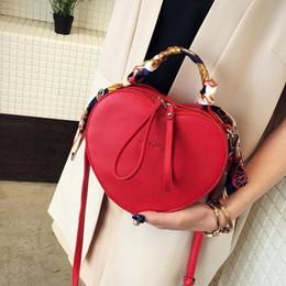 Heart Shaped Red Handbag Australia - Lotec Women Pu Leather Handbag Heart Shaped Mini Shoulder Crossbody Bag Lady Luxury Messenger Bag With Scarf Handle