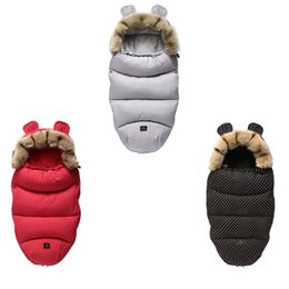 infant robes NZ - Newborn Infant Sleeping Bag Baby Stroller accessories Envelopes Sleepsack Warm Swaddle Wrap Robe Fur Collar