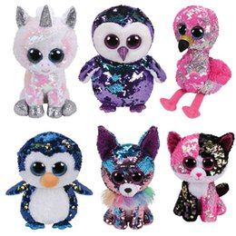 Discount soft plush stuffed toy owl TY BEANIE BOOS Diamond sequin unicorn owl dinosaur flamingo cat Plush Toys Stuffed Doll soft toys Baby Christmas Gift