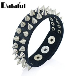 Gold Spike Studs Wholesale Australia - Gothic Delicate Cuspidal Spikes Rivet Cone Stud Cuff Black Leather bracelets & bangles Punk Bracelet for women men jewelry S266