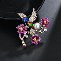 $enCountryForm.capitalKeyWord Australia - 2019 New Fashion Bird Pattern Brooch Suit Rose Badge Christmas Gift Rhinestone Alloy Plum Blossom Bird Pearl Brooch b436