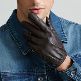 Men Gloves Leather Sheepskin Australia - Genuine Leather Gloves Men's Winter Touchscreen Sheepskin Gloves Breathable Mesh Driving Car Short Thin Men M9003