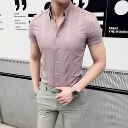 e23c4599e4a Short Sleeve Men Shirt Summer 2019 Streetwear Mens Dress Shirts All Match  Simple Striped Shirt Men Slim Fit Business Formal Wear