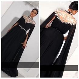 $enCountryForm.capitalKeyWord Australia - Plus Size Crystals Kaftan A-Line Prom Dresses Caped Long Sleeves Yousef Aljasmi High Neck Black Long Chiffon Arabic Formal Evening Gowns