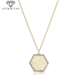 $enCountryForm.capitalKeyWord UK - ATTRACTTO Long Gold Color Hexagonal Necklaces&Pendants For Women Chain Necklace Charms Crystal Jewelry Necklace Female SNE190005