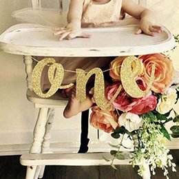 $enCountryForm.capitalKeyWord NZ - Gold Glitter ONE Banner for Prince Princess Baby boy girl 1st first Birthday Party High Chair Decoration Supplies photo prop
