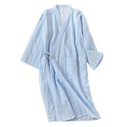 47212b6498 New spring simple striped kimono robes men 2019 100% cotton summer male  bathrobes long sleeve SPA casual Japanese robes for men