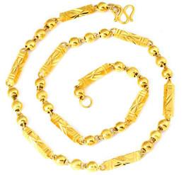 $enCountryForm.capitalKeyWord UK - Hexagon Bead Solid Necklace 18K Gold Plated Men's Hexagonal Column Bamboo Vietnam Sand Gold Necklace