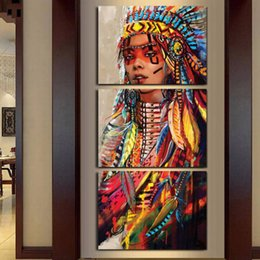 Indian Girls Paintings Australia - Native American Indian Girl Feathered,3 Pieces Canvas Prints Wall Art Oil Painting Home Decor (Unframed Framed) 16X24X3.