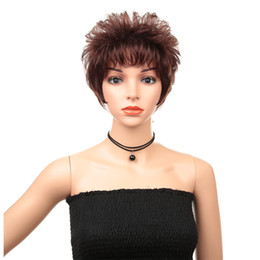 $enCountryForm.capitalKeyWord UK - Hot Sale New Fashion Fluffy Temperament Solid Color Short Wave Volume Real Human Hair Wig Set