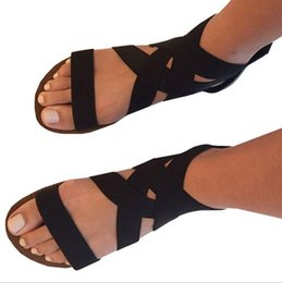 $enCountryForm.capitalKeyWord Australia - Largesized European and American flatsole crosstightened back zipper Roman sandals Wih 414243 womens foreign trade softsoled sandals