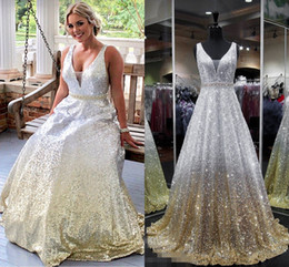 cf6392aa76eb Sparkly Sequin Ombre 2019 Evening Bridesmaid Dresses Cheap Deep V neck  Sliver to Yellow Crystal Gradient Long Formal Prom Party Dress