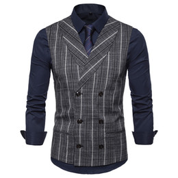 Wholesale casual waistcoat double breast for sale - Group buy Vests Men New Casual Turn down Collar British Style Striped Double Breasted Waistcoat