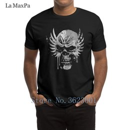 skull graphic tees UK - Create Novelty Men T Shirt Grunge Skull With Wings And Drips T-Shirt Slim Fit Clothes Tshirt Funny S-3xl Tee Shirt Graphic