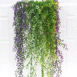 fake vines decoration UK - 80CM Artificial Hanging Flower Plant 5 branches Fake Vine Willow Rattan Flowers Artificial Hanging Plant For Home Garden Wall Decoration