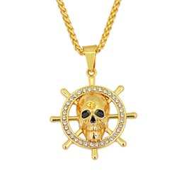 Rudder Gift Australia - Skull Pendant Necklace With Rhinestone Rudder Charm Hip Hop Jewelry For Men Gift Drop Shipping