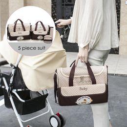 Mothers Suits Australia - 5Pcs Baby Diaper Bag Suits for Mom Baby Bottle Holder MotherFashion Mummy Stroller Nursing Bag For Mother Diaper