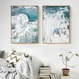 ocean canvas print art Australia - Canvas print with ocean wave scenery nordic seascape posters and prints home decor living room wall art pictures no frame