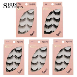 false eyelashes 12mm Australia - 4 Pairs Box 100% Thick Real Mink False Eyelashes Natural For Beauty Makeup Extension Fake Eyelashes False Lashes For Women Girls