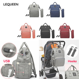 Discount waterproof bag diaper nappy LEQUEEN Maternity Waterproof Diaper Bag USB Charging Large Capacity Mummy Nursing Backpacks Nappy Bag Baby Care Organize