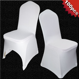 wedding covers Australia - 100 PCS Universal White Stretch Polyester Wedding Party Spandex Chair Covers for Weddings Banquet Hotel Decoration Decor Y200104