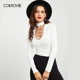 slim fit collared shirt women Canada - COLROVIE White Criss Cross Stand Collar Ribbed Knit Sexy T-Shirt Women 2019 Spring Long Sleeve Shirt Slim Fit Office Lady Tee Y200110