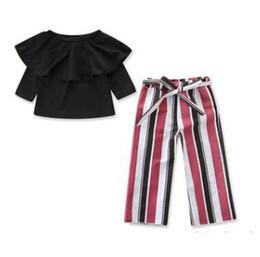 de58e8390f8e1 Kids Designer Clothes Girls 2PCS Clothing Sets 2019 Summer Fashion Baby  Girls Ruffle Off Shoulder Blouse Tops+Striped Wide Leg Pants Outfits